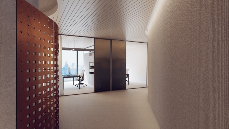 Aligned with the insurance company values, we created an organic, minimal and sustainable space in Ethias' Executive Management Offices